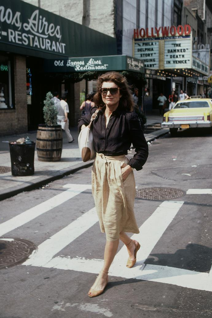 Leaving a cinema in New York City, 1981