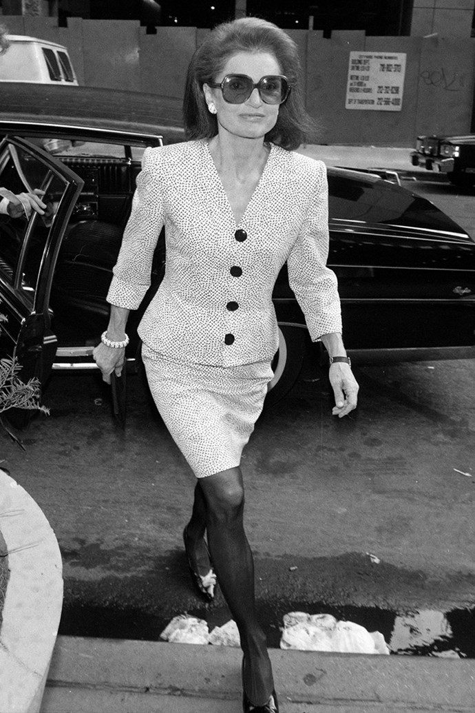 Arriving for a formal meeting, 1990