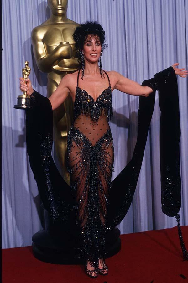 Cher in Bob Mackie at the 1988 Academy Awards.
