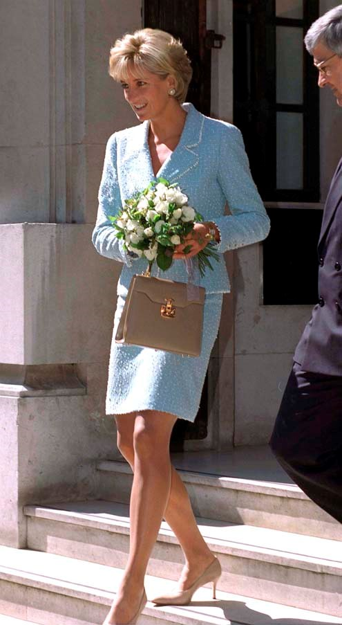 In Chanel visiting a hospital in London, 1997.