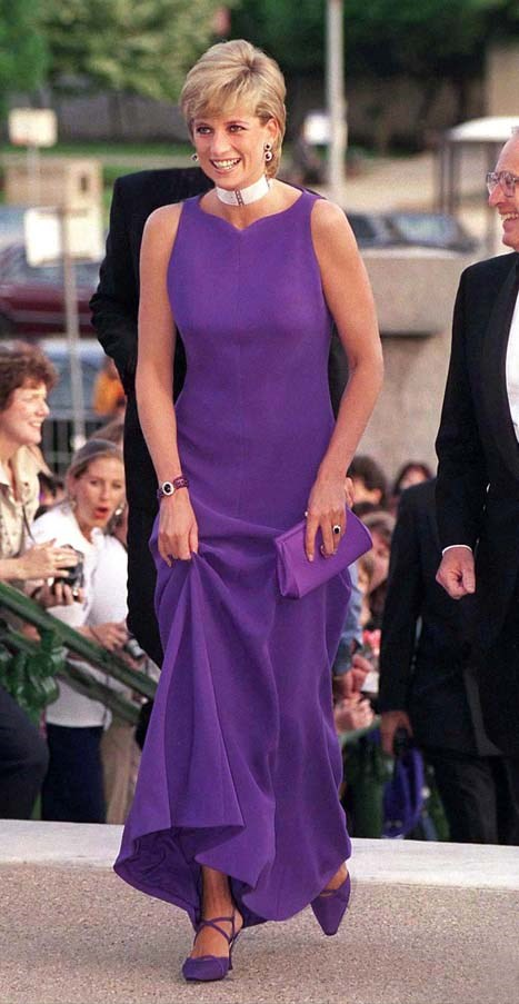 In Versace at a gala dinner in Chicago, 1996.