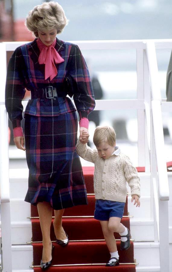 Leaving the yacht Britannia with Prince William, 1985.