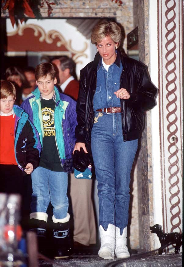 In Austria with Prince William and Prince Harry, 1993.