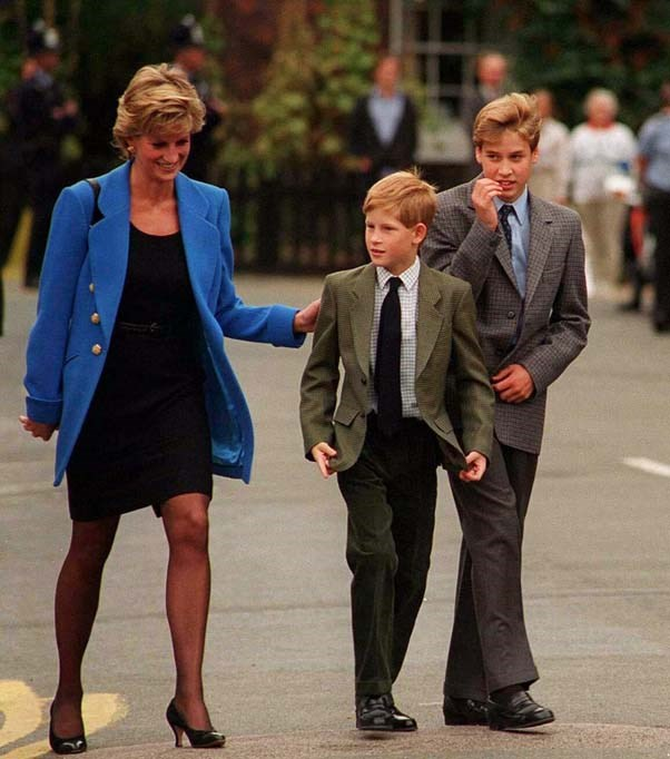 With Prince Harry on his first day of school at Eton College, 1995.