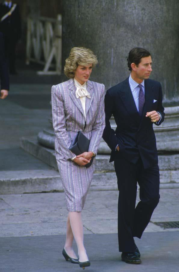 In Bruce Oldfield with Prince Charles, 1983.