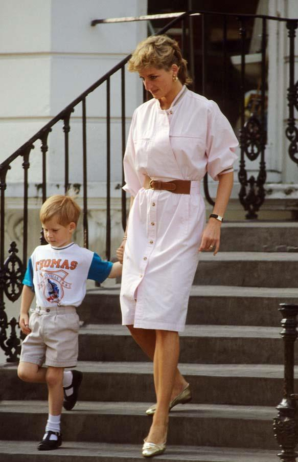 Leaving Prince Harry's nursery school, 1989.