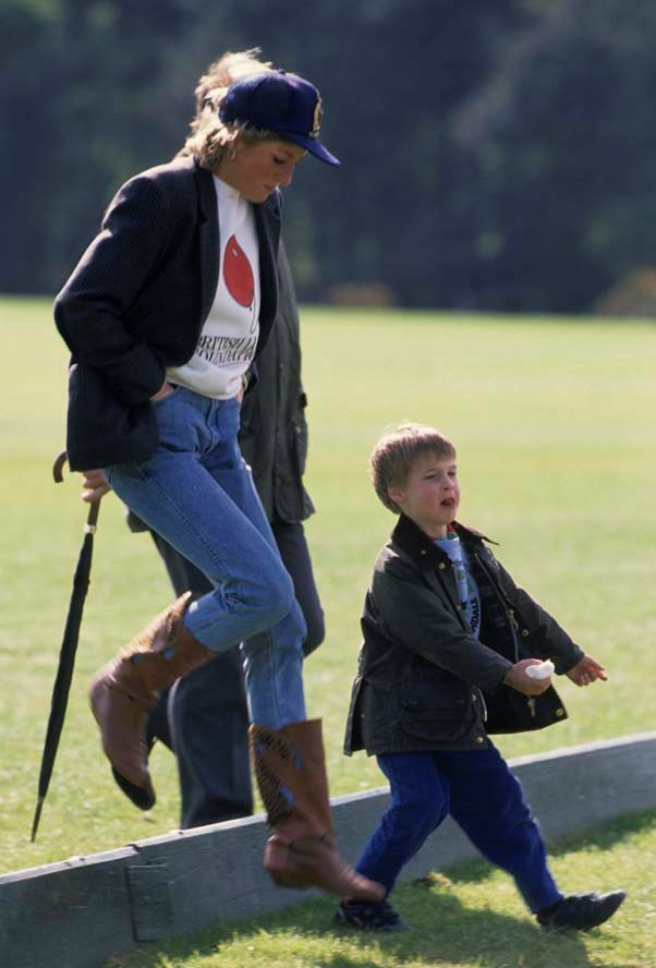 At the polo with Prince William, 1988.