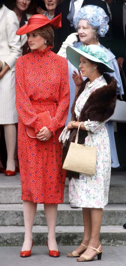 With Princess Margaret at the wedding of Nicholas Soames in London, 1981.