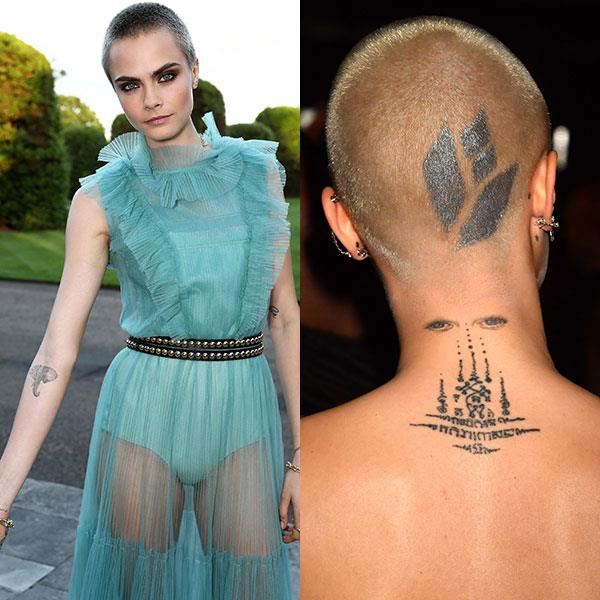 **Cara Delevingne**<br><br>  Cara Delevingne is [well-known for being inked](https://www.harpersbazaar.com.au/celebrity/cara-delevingne-new-tattoo-5357), boasting 20 tattoos at this point. Among others, the budding actress has a lion on her knuckle, a diamond inside her ear, and an elephant on her inner arm.