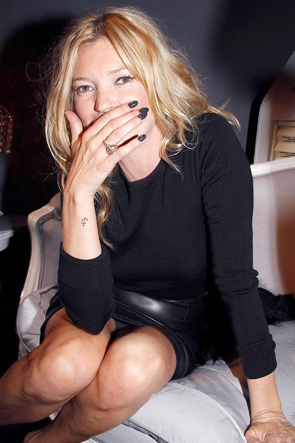 """**Kate Moss** <br><br> Kate Moss has two known tattoos, a small anchor on her right wrist, and a pair of wings on her lower back (she [showed off the latter](https://www.marieclaire.co.uk/news/celebrity-news/kate-moss-strips-down-for-cheeky-magazine-cover-98105