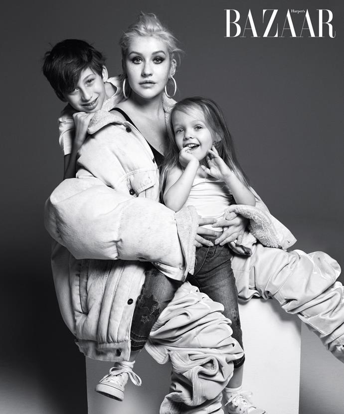 **Christina Aguilera with son, Max, and daughter, Summer Rain**