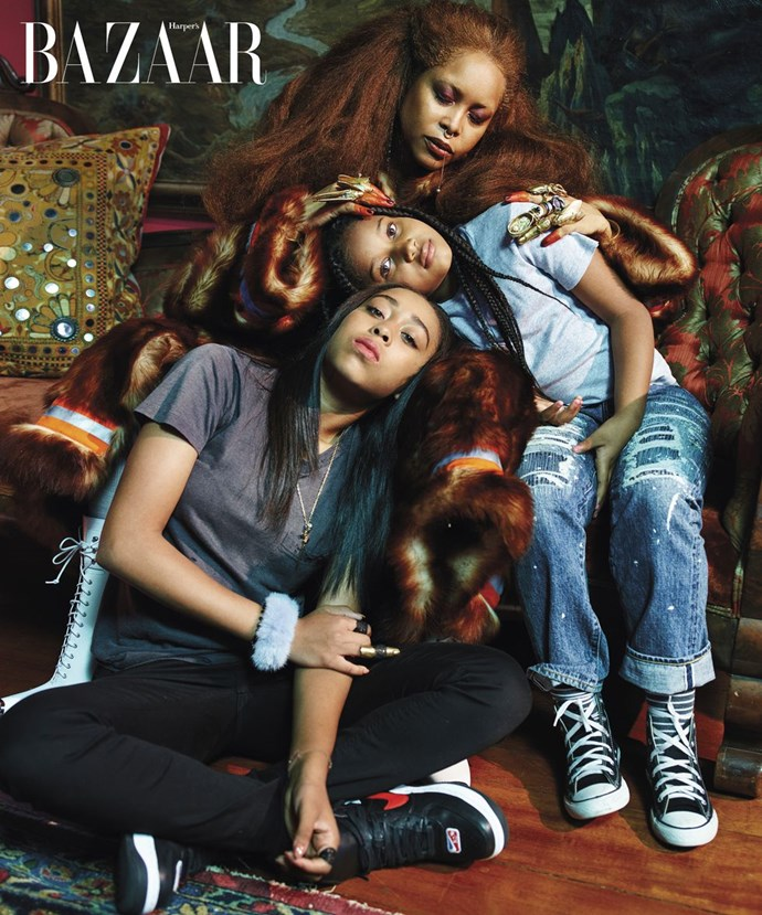 **Erykah Badu with daughters Puma and Mars**