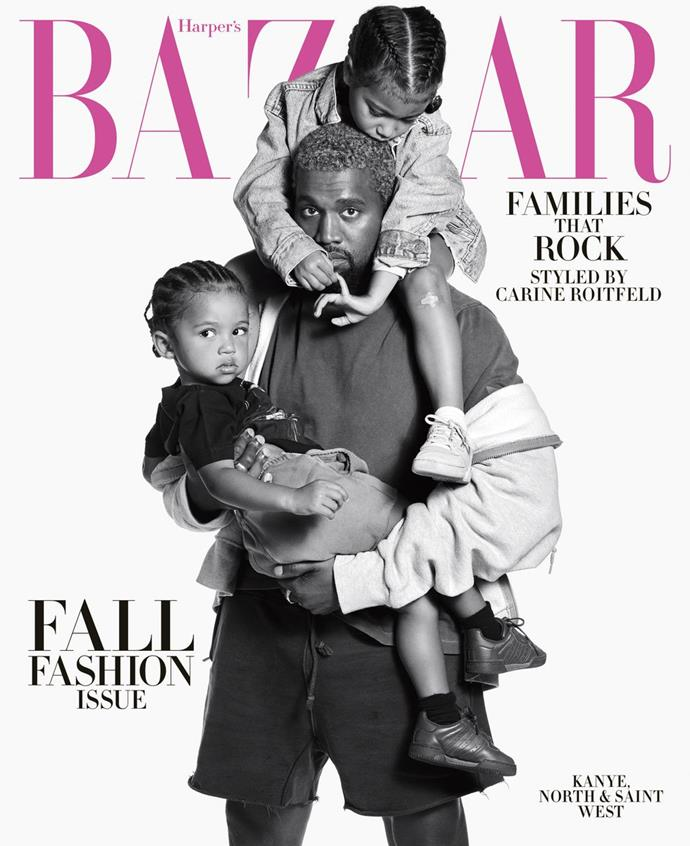 **Kanye West with daughter, North, and son, Saint**
