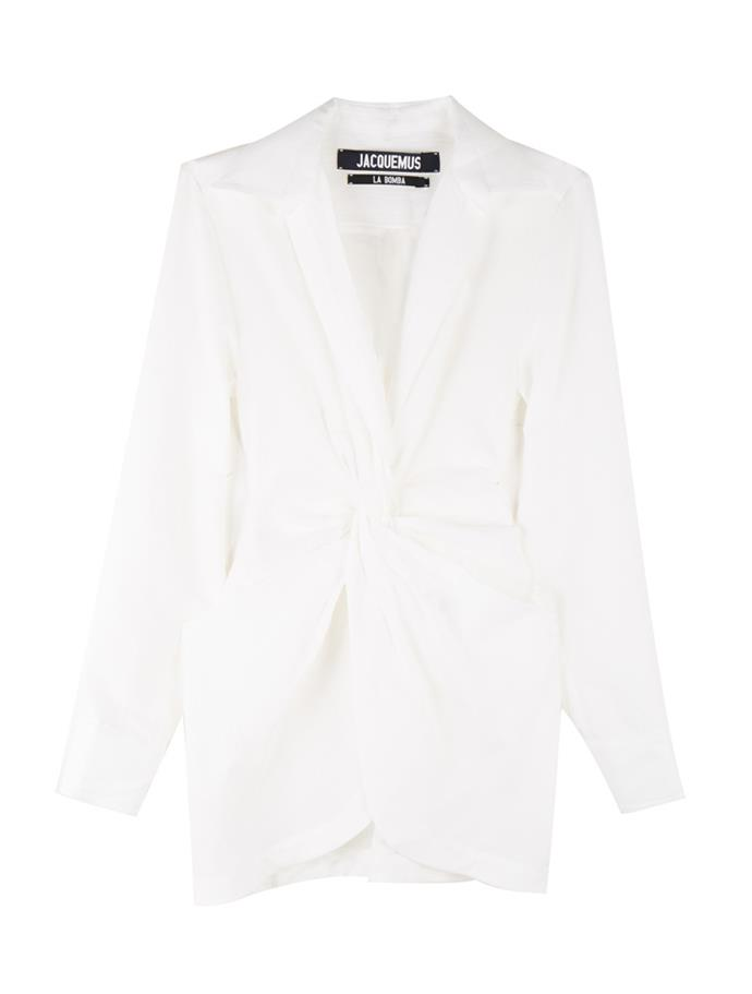 "'La Bolso' mini shirt-dress, $745, Jacquemus at [My Chameleon](https://www.mychameleon.com.au/designer/jacquemus/la-bolso-mini-shirtdress-white-jacquemus|target=""_blank"")"