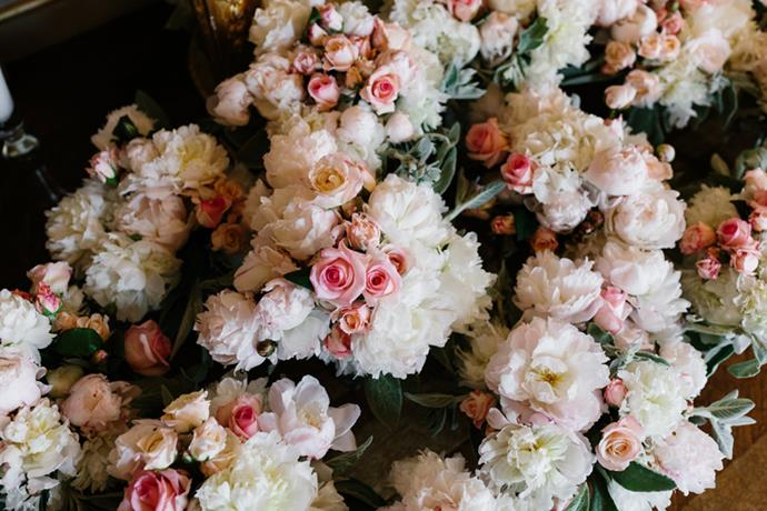 **On the flowers: ** <br><br> Peonies are my absolute favourite and that was all I asked for in my bouquet. In the venue, we used peonies, roses and hydrangeas as they remind me of the bouquets that Sam sends me from time to time.