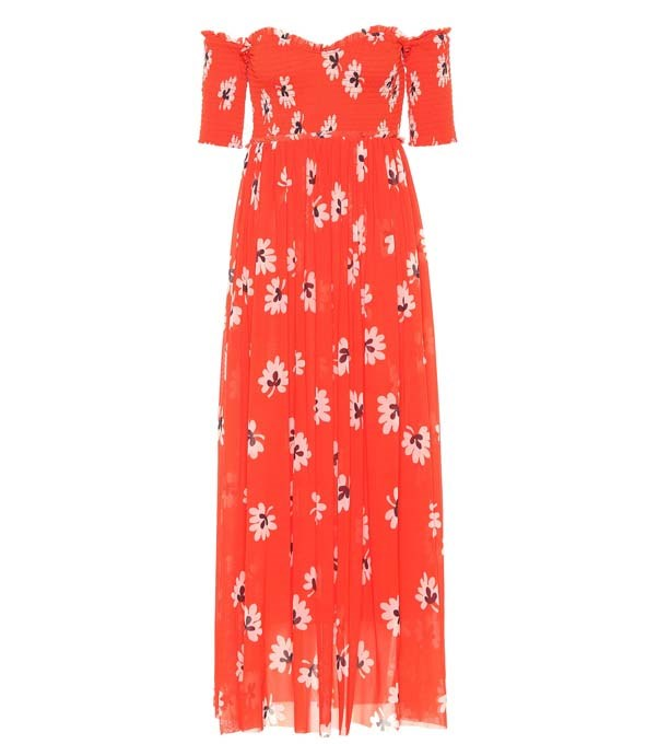 "Dress by Ganni, $399 at [Mytheresa](https://www.mytheresa.com/en-au/ganni-abito-tilden-off-the-shouldera-stampa-floreale-1021716.html?catref=category|target=""_blank""
