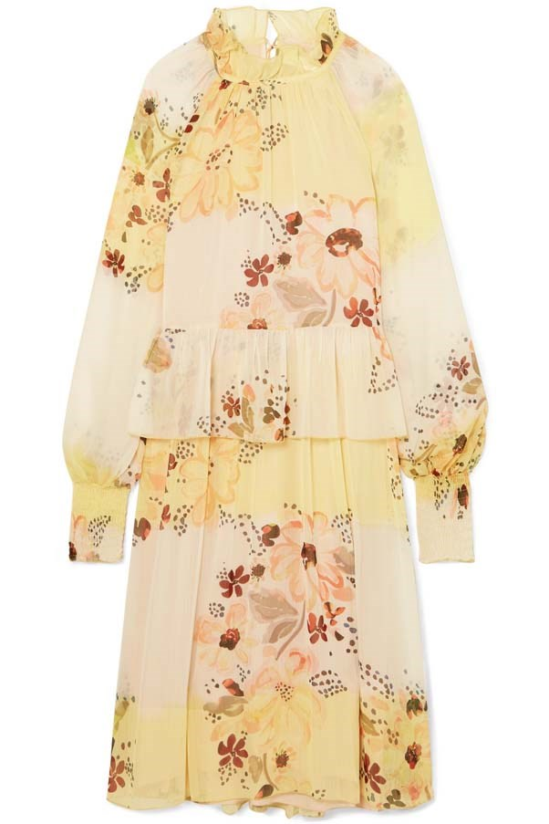 "Dress by See By Chloè, $840 at [Net-a-Porter](https://www.net-a-porter.com/au/en/product/1059261/see_by_chloe/tiered-floral-print-georgette-dress|target=""_blank""