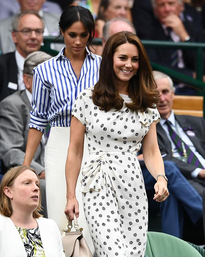 Catherine, Duchess of Cambridge with Meghan, Duchess of Sussex at Wimbledon last month.