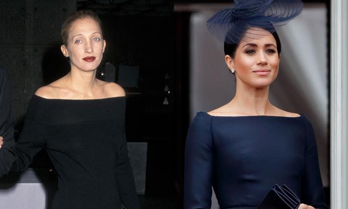 "***The Bateau Neckline*** <br><br> While we're [already aware](https://www.harpersbazaar.com.au/fashion/meghan-markle-carolyn-bessette-kennedy-outfit-15183|target=""_blank"") of the [Duchess of Sussex](https://www.harpersbazaar.com.au/fashion/wearing-black-to-a-wedding-17118