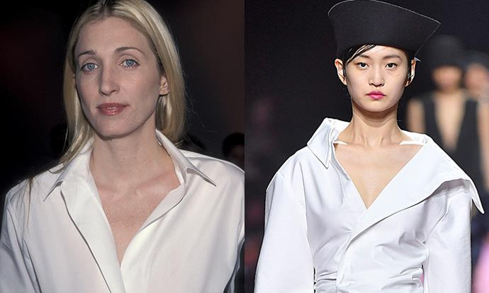 "***The Dramatic Plunging White Shirt*** <br><br> While white shirts are the backbone of many outfits, there's nothing more statement-making than a dramatically plunging white button-up. On the left is Bessette-Kennedy in 1999; on the right is [Jacquemus](https://www.harpersbazaar.com.au/fashion/jacquemus-diet-prada-fight-16857|target=""_blank"")' autumn/winter '18 show."