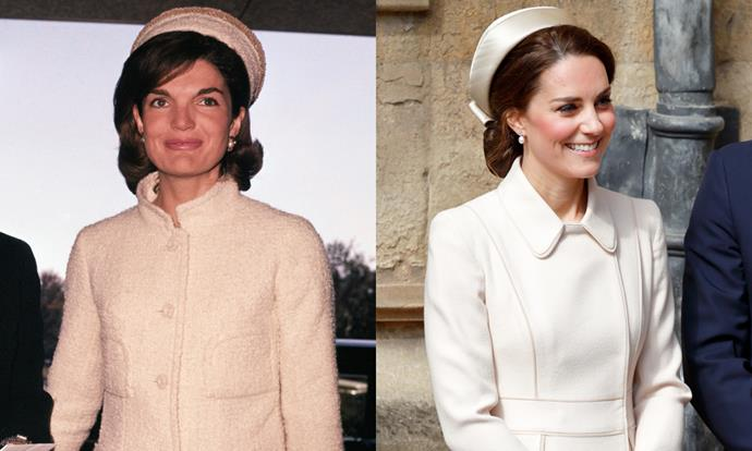 Catherine, The Duchess of Cambridge, wore an ivory coat-dress and pillbox hat reminiscent of the former First Lady at St George's Chapel, Windsor Castle on 16th April, 2017. <br><br> Images: Getty