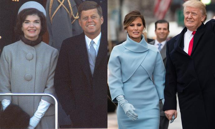 Melania Trump donned a powder blue dress with elbow-grazing sleeves and long gloves for Donald Trump's inauguration in Washington DC on 20th January, 2017. <br><br> Images: Getty
