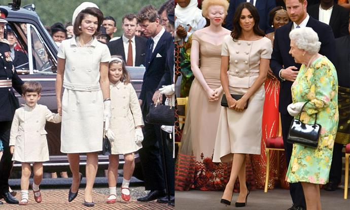 "Meghan, The Duchess of Sussex, wore a neutral [Prada skirt-suit](https://www.harpersbazaar.com.au/celebrity/meghan-markle-prada-suit-16818|target=""_blank""), similar to one worn by Jackie O, to meet 'The Queen's Young Leaders' at Buckingham Palace on 26th June, 2018. <br><br> Images: Getty"