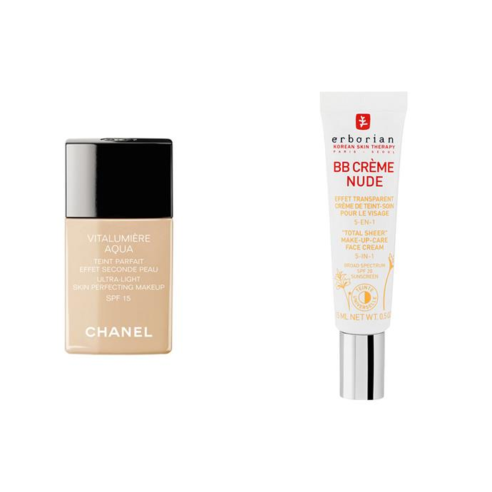 """**FOUNDATION:** <br><br> *Chanel Vitalumière Aqua Foundation, $78 at [Myer](https://www.myer.com.au/shop/mystore/chanel-makeup-complexion/ultra-light-skin-perfecting-makeup-spf-15-919849970-919851230