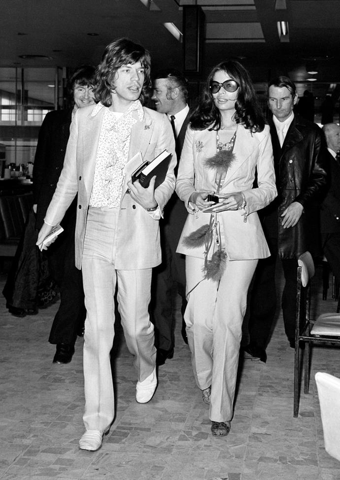With Mick Jagger at Heathrow Airport, 1970
