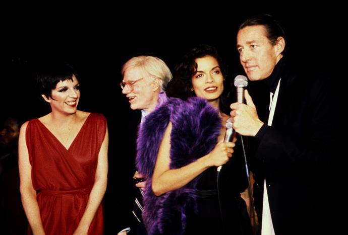 With Liza Minelli, Andy Warhol and Halston in New York, 1970