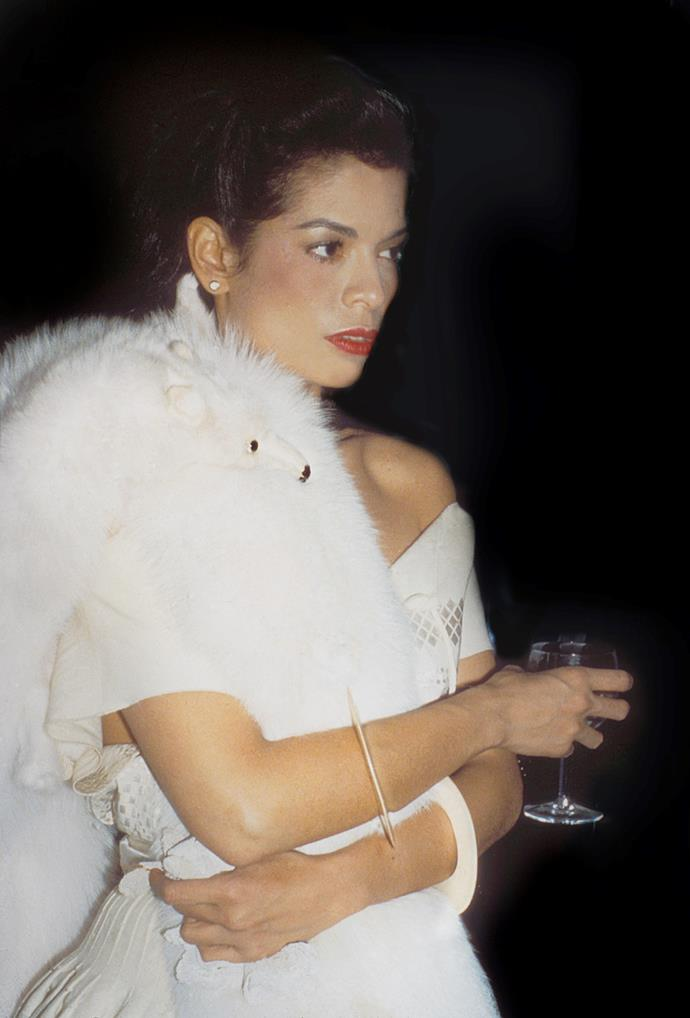 At a cocktail party in Halston's town house, 1978