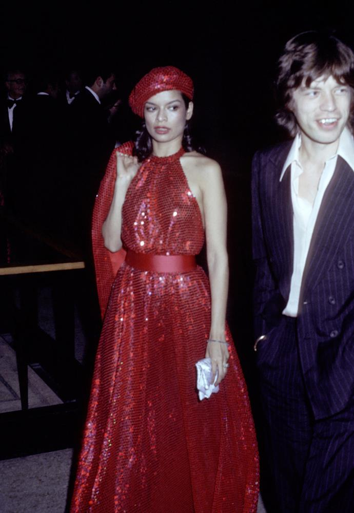 With Mick Jagger at 'Romantic and Glamorous Hollywood Design Exhibition', 1974