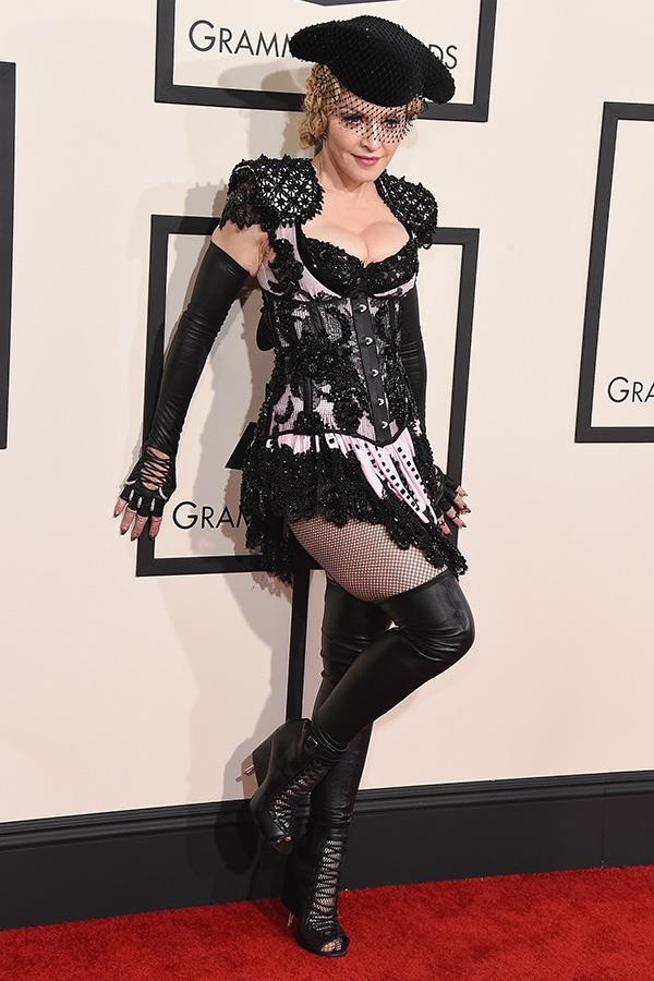 ***2015:*** Madonna's Givenchy outfit for the 2015 Grammys, inspired by a Parisian cabaret, drew a barrage of controversy.