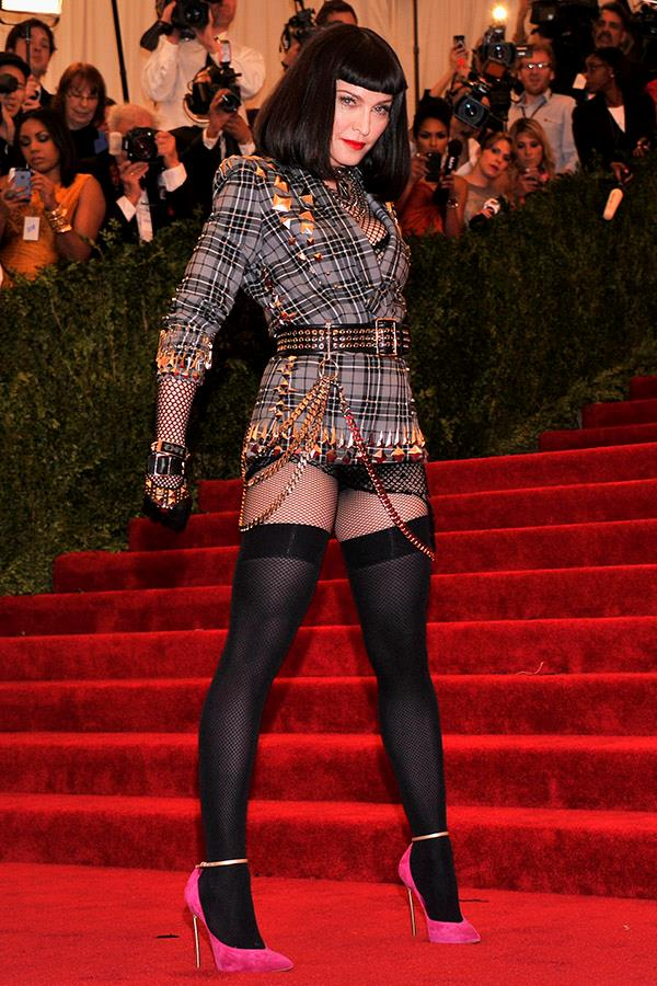 "***2013:*** For the 2013 [Met Gala](https://www.harpersbazaar.com.au/fashion/met-gala-2018-red-carpet-16427|target=""_blank""), Madonna wore a punk-inspired plaid number by Givenchy. The über-mini ensemble was one of the most revealing ever worn to the Met at that time."