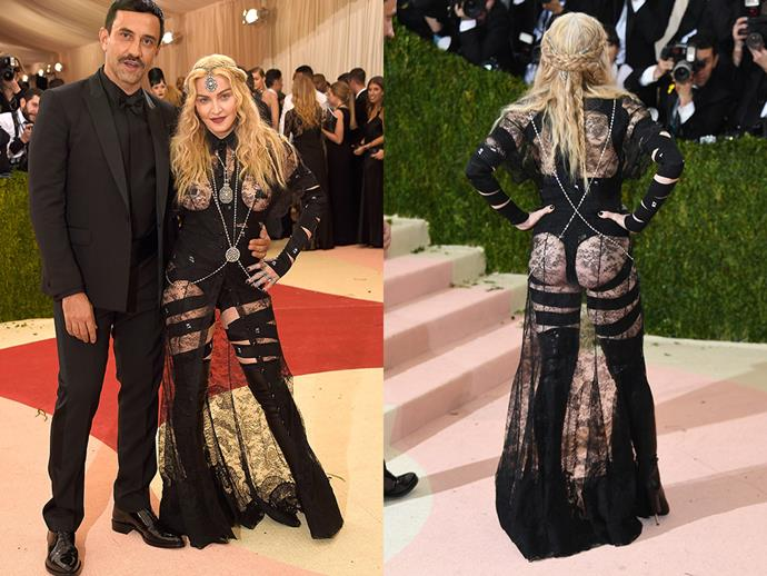 ***2016:*** Madonna's sheer Givenchy Met Gala dress (pictured on the left with Givenchy creative director Riccardo Tisci) prompted plenty of opinions, with some saying she should have 'toned it down' for the prestigious ball.