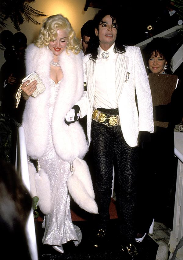 "***1991:*** Madonna channelled cinematic icon [Marilyn Monroe](https://www.harpersbazaar.com.au/celebrity/rare-marilyn-monroe-photos-book-14563|target=""_blank"") for the 63rd Academy Awards, which she attended with Michael Jackson."