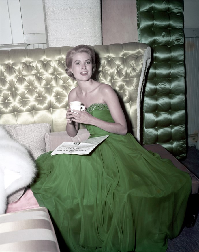 Wearing a green dress for St Patrick's Day, 1954