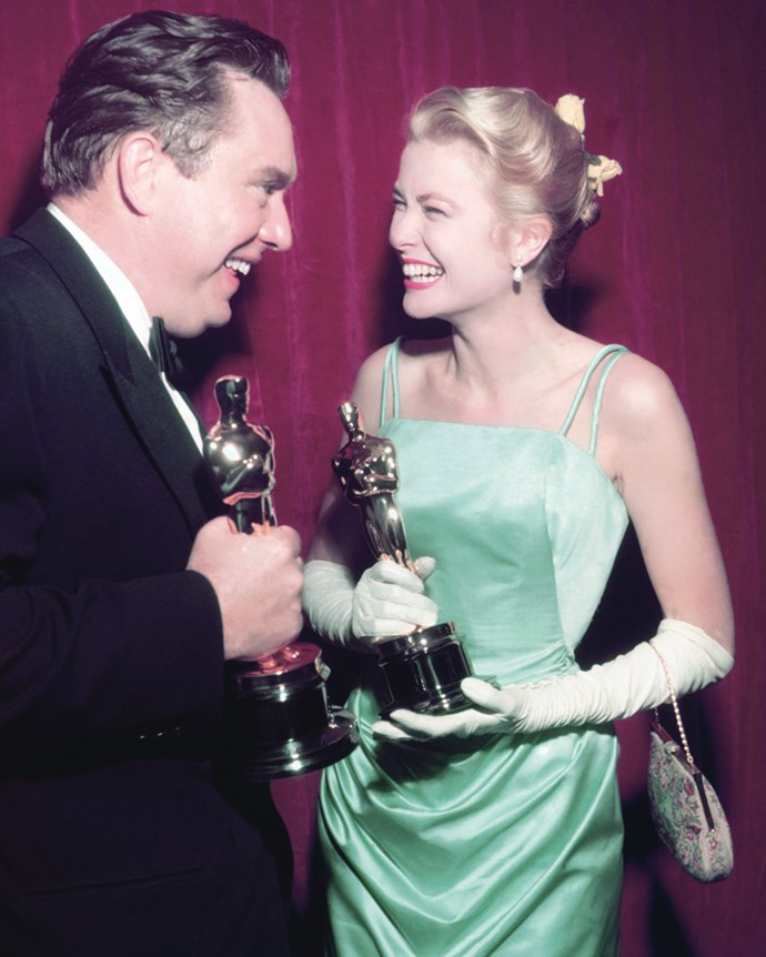 With Edmond O'Brien at the Academy Awards in Los Angeles, 1955