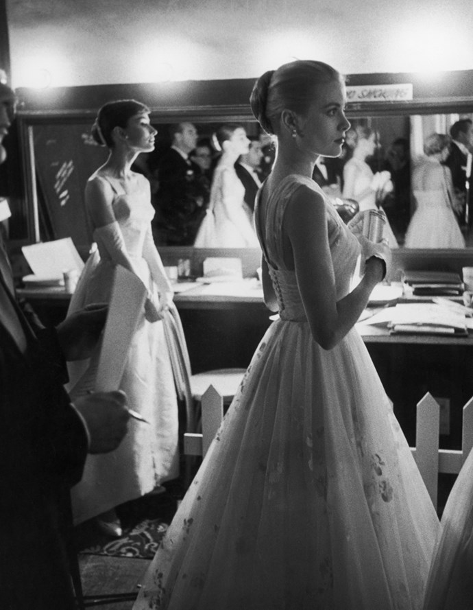 With Audrey Hepburn at the Academy Awards, 1956