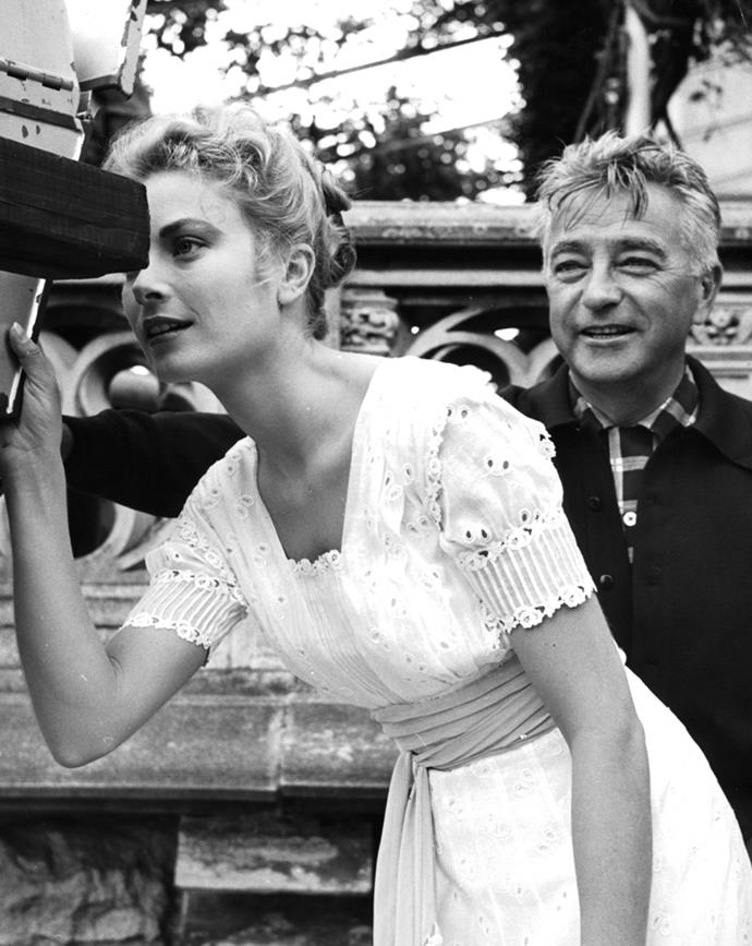 With Charles Victor on the set of *The Swan*, 1956