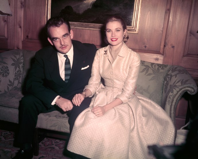 With Rainier III, Prince of Monaco, announcing their engagement in the Kelly family home, 1956