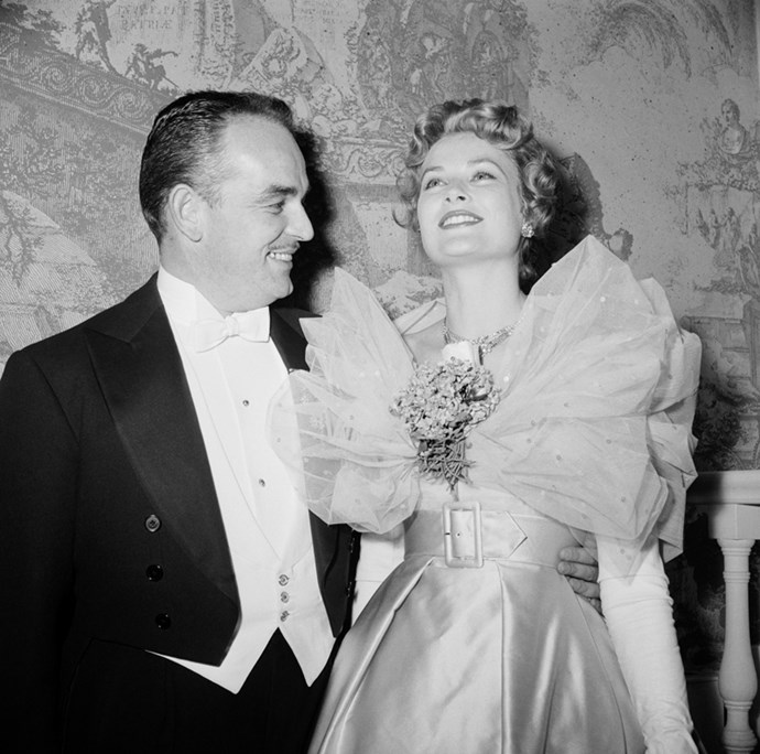 With Prince Rainier III at the Imperial Ball in New York, 1958