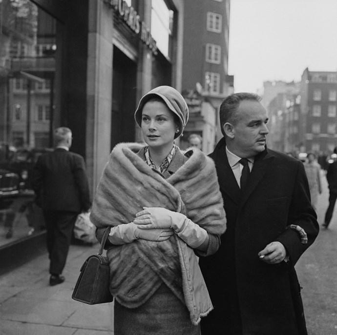 Shopping in London with Prince Rainier III, 1959