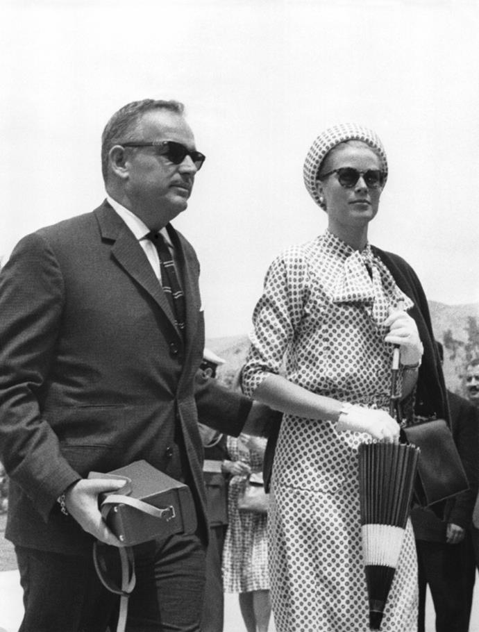 With Prince Rainier III at the wedding of Prince Juan Carlos of Spain and Princess Sofia of Greece in Athens, 1962