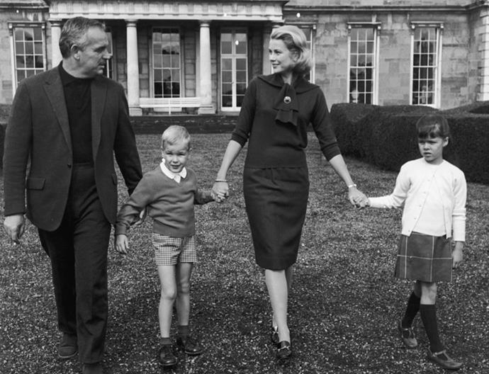 With Prince Rainier III and their children, Albert and Caroline, in Palm Springs, 1963
