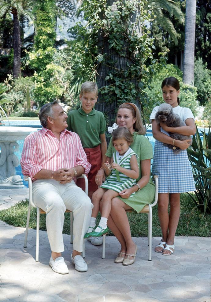 Family portrait in palace's royal garden in Monaco, 1969