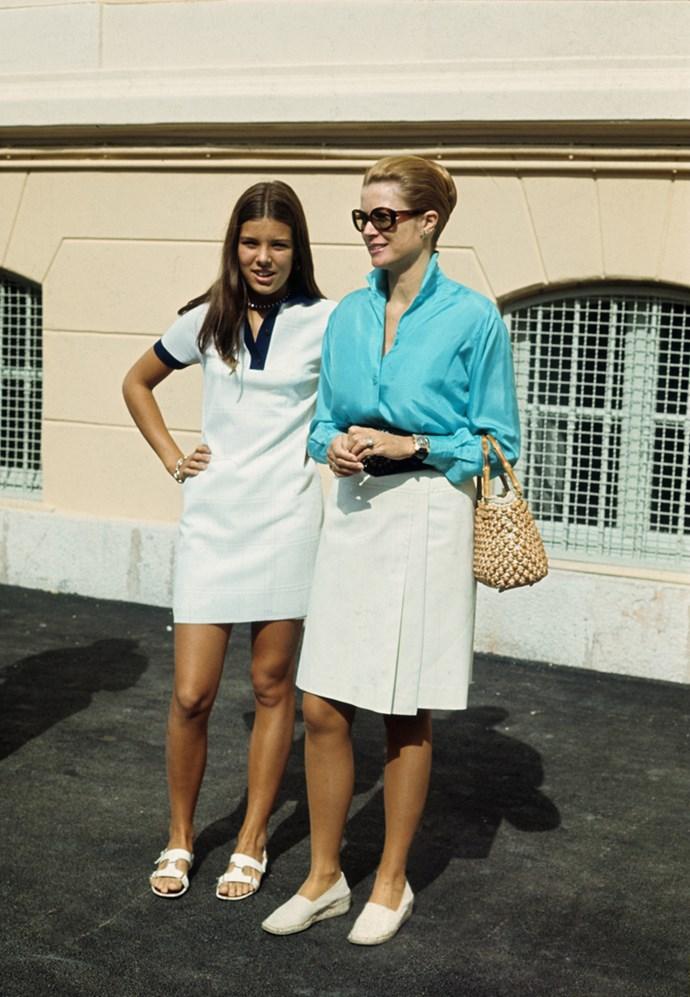 With daughter Caroline in Monaco, 1970