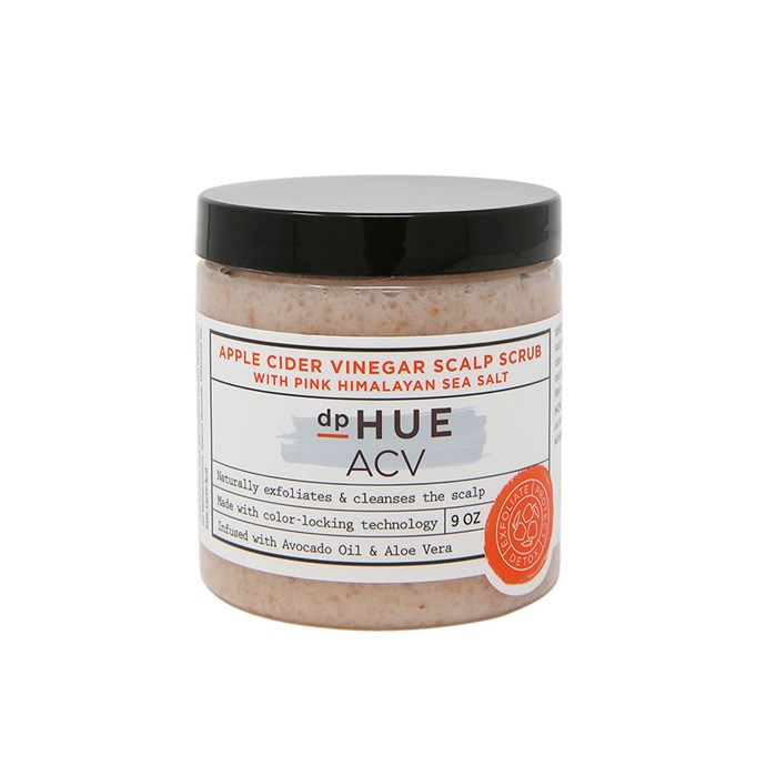 "dpHUE Apple Cider Vinegar Scalp Scrub With Pink Himalayan Sea Salt, $58 at [REVOLVE](https://www.revolveclothing.com.au/dphue-apple-cider-vinegar-scalp-scrub-with-pink-himalayan-sea-salt/dp/DPHE-WU5/?d=Womens&page=1&lc=5&itrownum=2&itcurrpage=1&itview=01|target=""_blank""