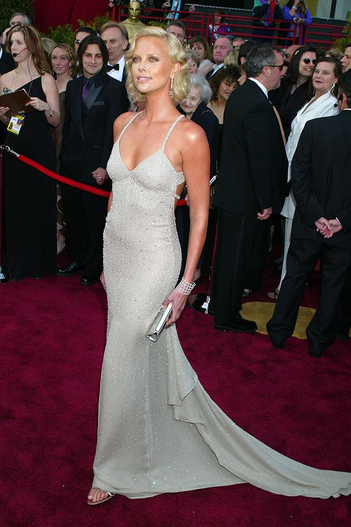 Charlize Theron in Gucci at the 76th Academy Awards in 2004
