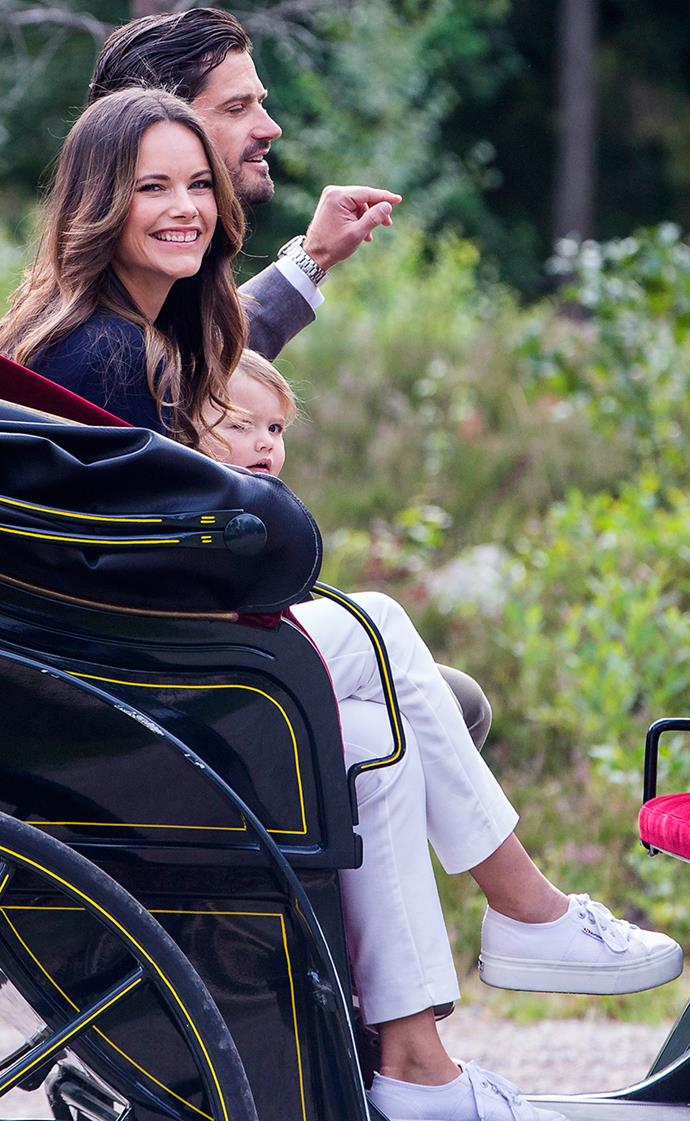 Princess Sofia of Sweden arriving at the inauguration of Prince Alexander's viewpoint at the Nynas Nature Reserve on August 23, 2018
